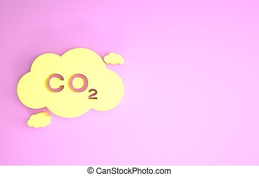 carbono, ícone, minimalism, poluição, 3d, cor-de-rosa, render, concept., fórmula, meio ambiente, isolado, símbolo, ilustração, experiência., bióxido, smog, nuvem, emissões, co2, amarela, conceito