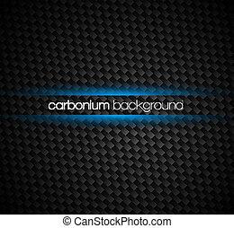 carbono, fibra, fundo, com, escuro, tons, azul, luz, brilho,...