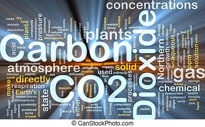 carbono, glowing, conceito, fundo, bióxido
