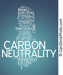 carbono, palavra, nuvem, neutralidade