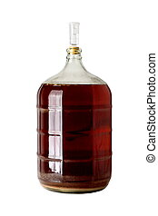 Carboy of Fermenting Homebrew Beer - A clear glass carboy...