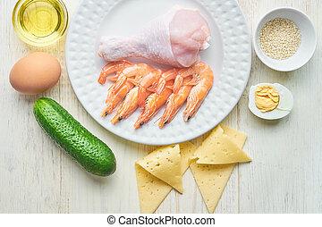 carbs, bas, vue, régime sain, manger, concept., vivant, sommet, ketogenic