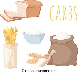 Carbs food vector illustration. - Carbs food isolated on...