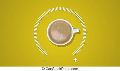 carburant, arrière-plan., créatif, animation, indicateur, tasse à café, niveau, idée, jaune, projection