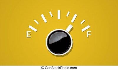carburant, arrière-plan., créatif, animation, noir, indicateur, tasse à café, niveau, idée, jaune, projection