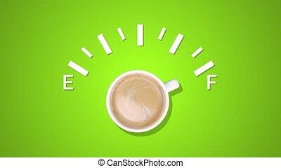 carburant, arrière-plan., créatif, animation, vert, noir, indicateur, tasse à café, niveau, idée, projection