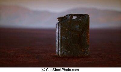 carburant, boîte métallique, rouillé, désert, vieux