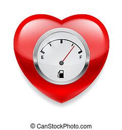carburant, coeur, indicateur