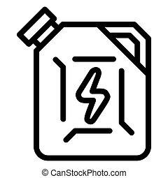 carburant, icône, style, boîte métallique, contour