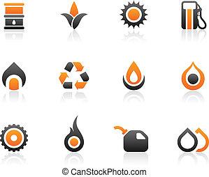 carburant, icônes, graphiques