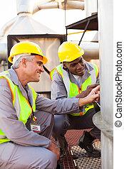 carburant, pétrochimique, réservoir, techniciens, inspection