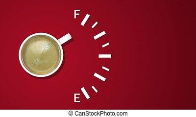 carburant, projection, arrière-plan., créatif, animation, indicateur, tasse à café, niveau, idée, rouges