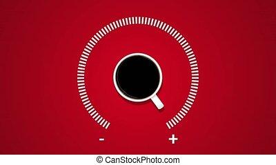 carburant, projection, arrière-plan., créatif, animation, noir, indicateur, tasse à café, niveau, idée, rouges