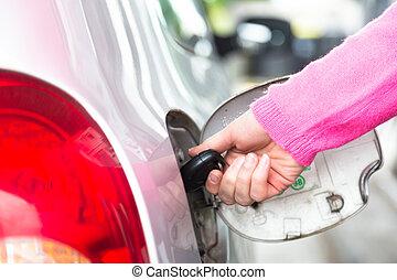 carburant, réservoir, clé, ouverture