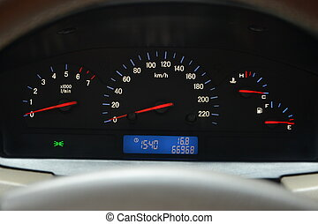 carburant, tachymètre, compteur vitesse, température, niveau