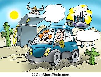 carburant, voiture, courses, mélangé, eco-amical
