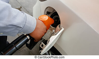 carburante, automobile, refilling, mano