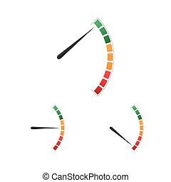 carburante, icona, set, tachimetro, esecuzione, tachimetro, colorito, metro, simbolo, misura