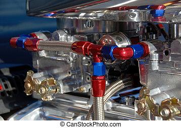 Carburators on Hotrod Engine - Carburators on an American...