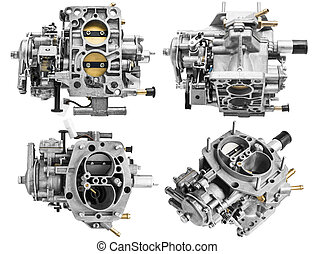 Carburetor on white background with shallow depth of field