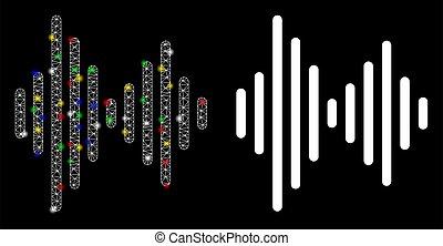 carcaça, manchas, malha, sinal, áudio, chama, ícone