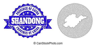 Carcass Mesh Circle Inverted Map of Shandong Province with Grunge Seal