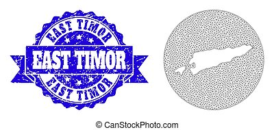Carcass Mesh Round Stencils Map of East Timor with Distress Stamp