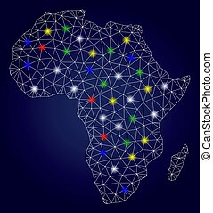Carcass Mesh Vector Africa Map with Bright Light Spots