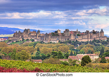 Image of the famous fortified town of Carcassonne, France.