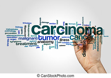 Carcinoma word cloud concept on grey background