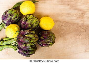 carciofi, cotto, con, limone, e, sale, su, rustico, legno, fondo