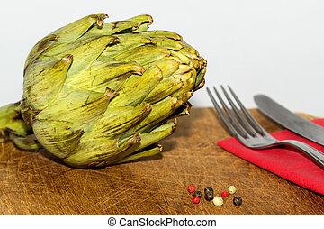 carciofo, su, uno, tavola