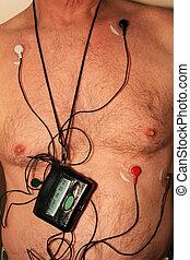 cardíaco, arnés, monitor