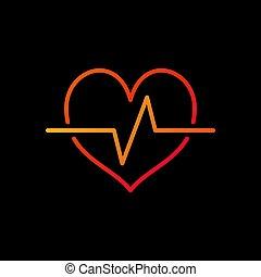 cardíaco, ciclo, brillante, icon., vector, latido del corazón, contorno, símbolo