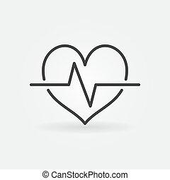 cardíaco, ciclo, lineal, icon., vector, latido del corazón, concepto, símbolo