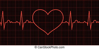 cardíaco, corazón, beat., cardiogram., ciclo