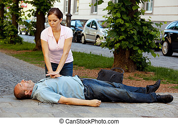 cardíaco, massage., primeros auxilios, para, ataque cardíaco