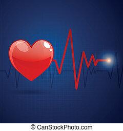 cardíaco, vector, frecuencia