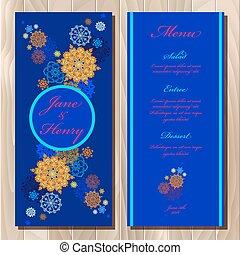 card., étrend, ábra, tél, vektor, tervezés, esküvő, hópihe