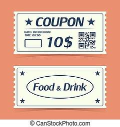 card., クーポン, イラスト, 要素, ベクトル, テンプレート, 切符, design.
