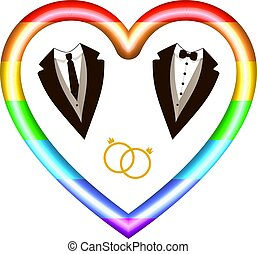 card., スーツ, ベクトル, リング, マレ, lgbt, 心, icon:, 有色人種, アイコン, 招待, 虹, 結婚式