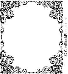 card., フレーム, pattern., デザイン, テンプレート, 花