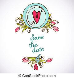 card., 型, 日付, invitation., 花, を除けば