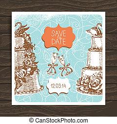 card., 型, 結婚式, イラスト, 手, 招待, 引かれる