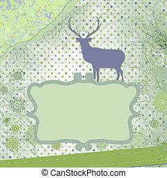 card., 型, claus, 鹿, eps, santa, 8, クリスマス