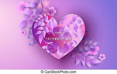 card., 愉快, greating, 母親, 天, 紅色, 紫色