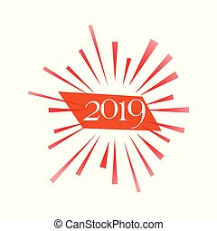 card., 挨拶, 2019, 年, 新しい, 幸せ