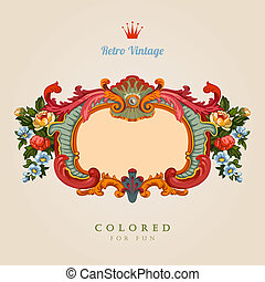 card., 葡萄酒, 問候, retro, 植物, frame.