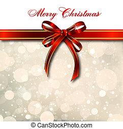 card., 魔法, 弓, ベクトル, クリスマス, 赤