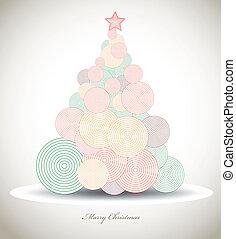 card., 소용돌이, 나무, 크리스마스, 벡터, 크리스마스